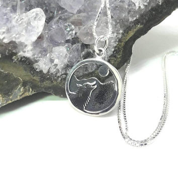 Wolf Necklace Sterling Silver Wolf Howling Moon Mountain Charm Small Pendant Wolf Desert Necklace Moon Desert 925 Silver Necklace
