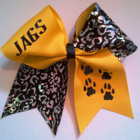 Jags Cheer Bow on 3'' Yellow Grosgrain