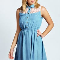 Debbie Denim And Daisy Detail Skater Dress