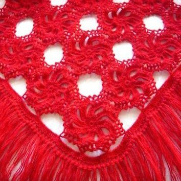 Handmade Red Shawl - Mother's Day Gift Idea - Ready To Ship - Crochet Cowl