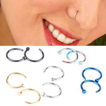 LNRRABC 1 piece Cool Stainless Steel Nose Open Hoop Ring Earrings Body Piercing Nose Studs Women Men Studs Jewelry  LY