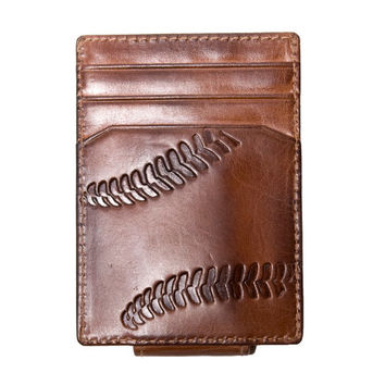 Leather Wallet - Men's Wallet - BASEBALL Embossed Magnetic Front Pocket Wallet