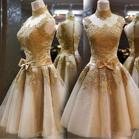 Banquet evening dress annual performance dress gold small dress bridesmaid dress short bridal toast new
