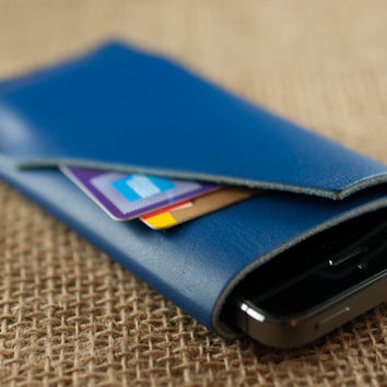 iPhone Leather Case - iPhone 5 and iPhone 4 Leather Case - Royal Blue Leather - Mens Womens -- Mobile Accessories - Personalized Monogram