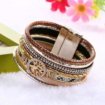 2016 Fashion Jewelry Woman Life Trees Bangle Bracelet Magnetic Clasp Leather Wrap Crystal Rhinestone Multilayer Wide Bracelets