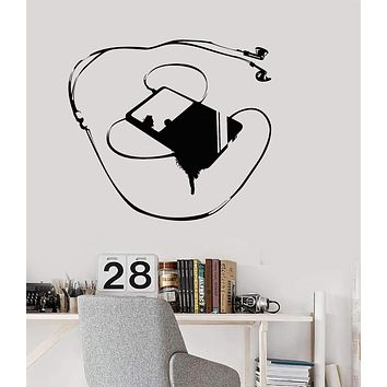 Wall Decal Music Player for Teens Room Headphones Art Vinyl Stickers Unique Gift (ig2807)