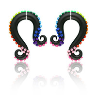 Rainbow Fake Gauge Earrings, Rainbow Octopus Tentacles Gauges