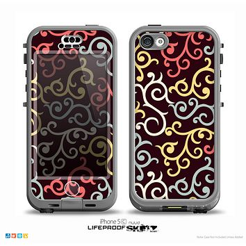 The Pink, Yellow and Blue Vector Swirls Skin for the iPhone 5c nüüd LifeProof Case