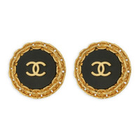 Vintage Chanel Black Button CC Earrings | Rent The Runway