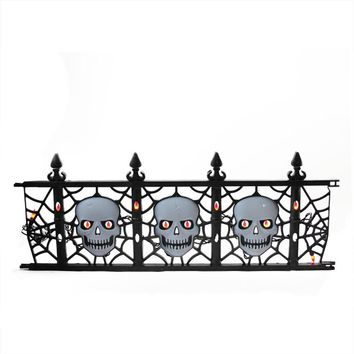 Set of 3 Pre-Lit Black and White Skull Fence Halloween Yard Art Decorations