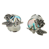 Steel Fairy Iridescent Eyelet Saddle Plug 2 Pack