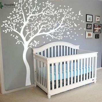 Wall Decal Vinyl Sticker White Tree Large Tree Wall Decor Desgin Color Wall Mural Nursery Kid Room Bedroom Playroom PosterWW-340