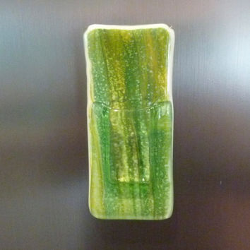 Green and Yellow Fused Glass Pocket Magnetic Vase