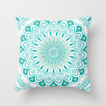 White Mandala on Blue Green Distressed Background with Detail and Textured Throw Pillow by AEJ Design