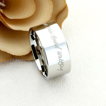 9mm 12mm Wedding Band Promise Ring Inspiration Ring Personalized Hand Writing Ring Custom Engraving Your Own Message