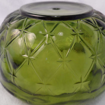 Depression glass bowl Green Ruffled edge