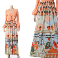 Vintage 70s Corky Craig Op Art Graphic Maxi Dress 1970s Victorian Era Print Carnaby Street Hippie Smocked Boho Long Gown