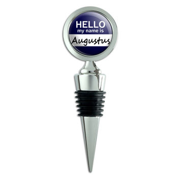 Augustus Hello My Name Is Wine Bottle Stopper