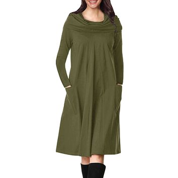 Casual Olive Green Cowl Neck Long Sleeve Jersey Dress
