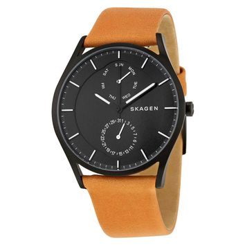 Skagen Holst Multifunction Black Dial Brown Leather Mens Watch SKW6265
