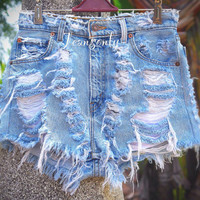 High waisted denim shorts Levis distressed ripped frayed denim cutoffs shorts by Jeansonly