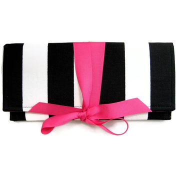 SALE black and white stripe clutch with hot pink bow. The ALEXIS Clutch.