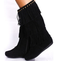 Black Fringe Boots Indian Moccasin Studs Vegan Suede 3Tier Studded Fashion Trend