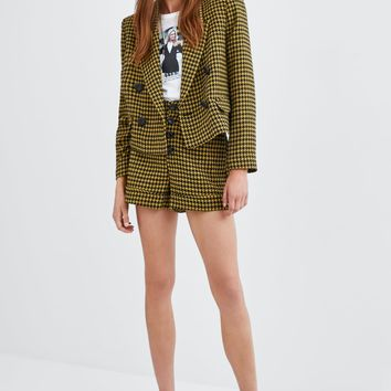 SHORT HOUNDSTOOTH BLAZER