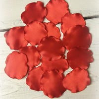 Red handmade petals for wedding For scrapbooking Home decor Wedding decor Handmade flower Table decor Petal for brooch hair clips Flower