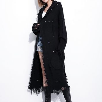 Easy Rider Black Distressed Cardigan