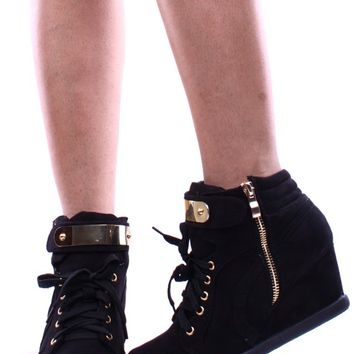 BLACK GOLD METAL DESIGN LACE UP ZIPPER CLOSURE WEDGE SNEAKER BOOTIES