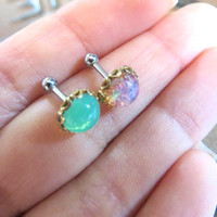 Pink Emerald Green Opal Stone Gemstone Gem Cartilage Helix Earring Ear Jewelry Post Stud 16g 14g 14 16 Gauge G Mint Ring