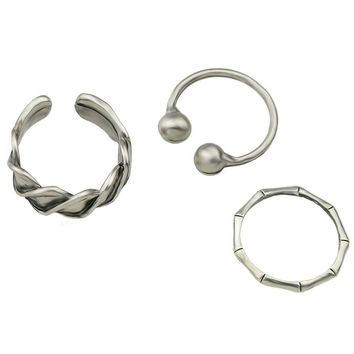 Vintage Alloy Cuff Jewelry Rings Set