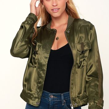Hit the City Olive Green Satin Bomber Jacket