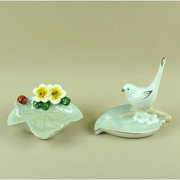 Porcelain Bird Jewellery Organizing Dish Decorative Ceramics Leaf and Flower Jewelry Holder Ornament Trinket Craft Accessories