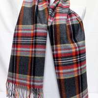 Gray and Orange Wool Men's Scarf, Gray and Orange Scarf, Plaid Gray and Orange Scarf - KR1411086