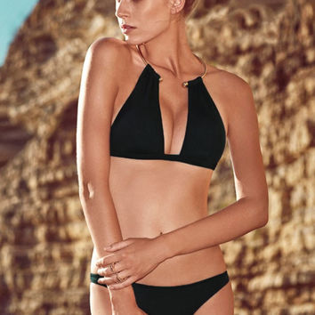 Necklace Trim Halterneck Bikini in Black