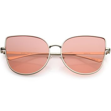 Women's Color Flat Lens Metal Cat Eye Sunglasses C242