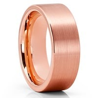Rose Gold Tungsten Ring - Rose Gold Tungsten Wedding Band - Brush - Comfort Fit