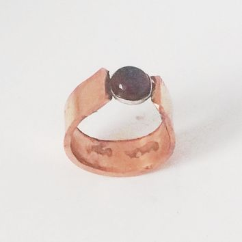 Copper and Garnet Ring, US Ring Size 9, Artisan, Mens or Womens Ring