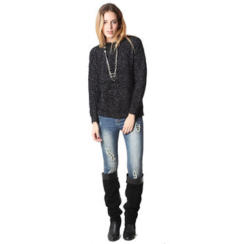 Women's Black Speckled Sweater In Soft Touch Fabric