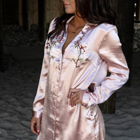 My Devotion Embroidered Long Sleeve Satin Dress