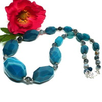 Teal Banded Agate and Moss Opalite Chunky Gemstone Handmade Necklace