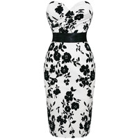 LADIES NEW WHITE FLORAL FITTED STRAPLESS VTG PENCIL EVENING COCKTAIL PARTY DRESS