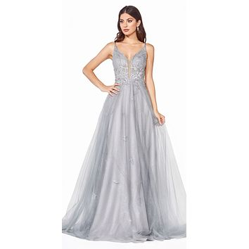 Floor Length A-Line Tulle Layer Dress Silver Lace Applique Bodice Open Back