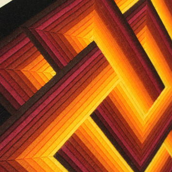 WOVEN OP ART from the 70s made in Paris France 34 X 34 inches frame