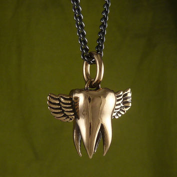 "Tooth Necklace Bronze Flying Molar Tooth Pendant on 24"" Gunmetal Chain"