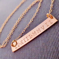 Roman Numerals Personalized Gold Bar Necklace by chipandchisel