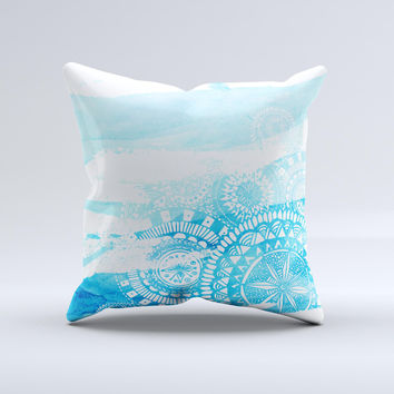 The Vivid Blue Abstract Washed ink-Fuzed Decorative Throw Pillow