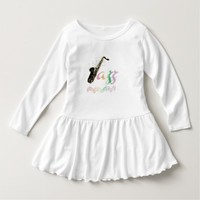 Rainbow Saxophone Jazz Notes Baby Dress